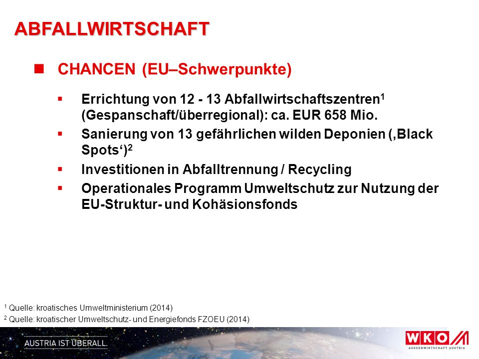 ABFALLWIRTSCHAFT CHANCEN (EU–Schwerpunkte)