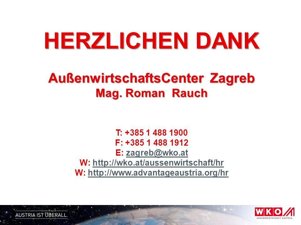 HERZLICHEN DANK AußenwirtschaftsCenter Zagreb Mag. Roman Rauch