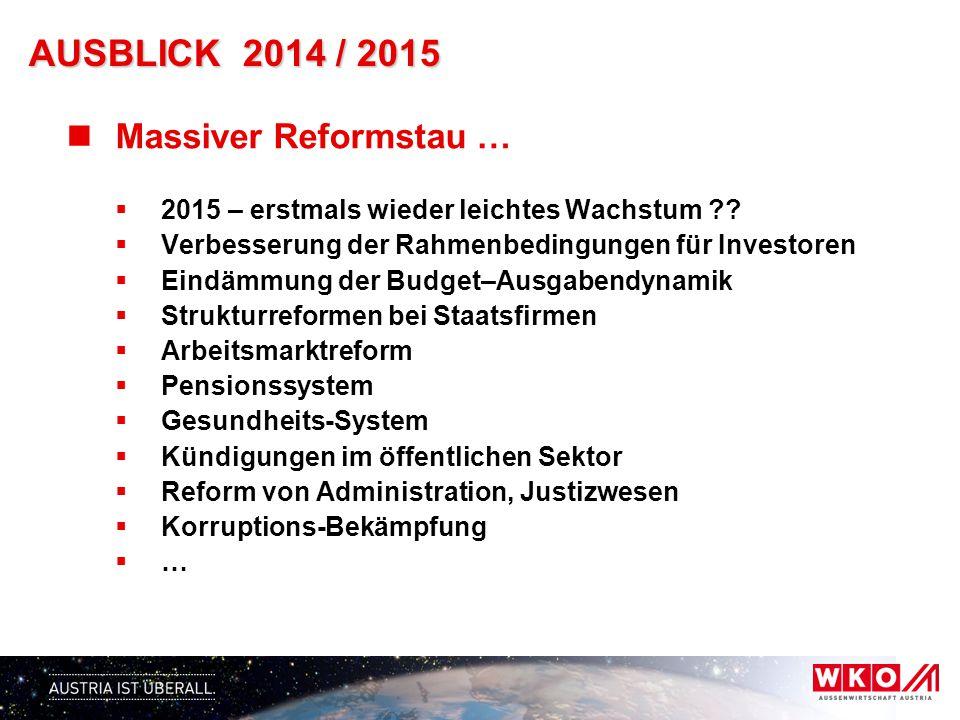 AUSBLICK 2014 / 2015 Massiver Reformstau …