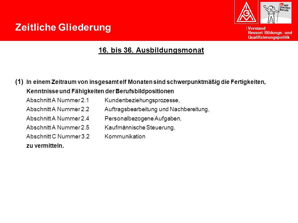 Zeitliche Gliederung 16. bis 36. Ausbildungsmonat