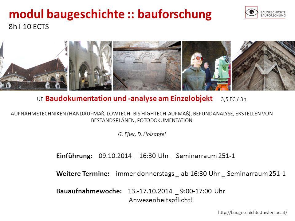 UE Baudokumentation und -analyse am Einzelobjekt 3,5 EC / 3h