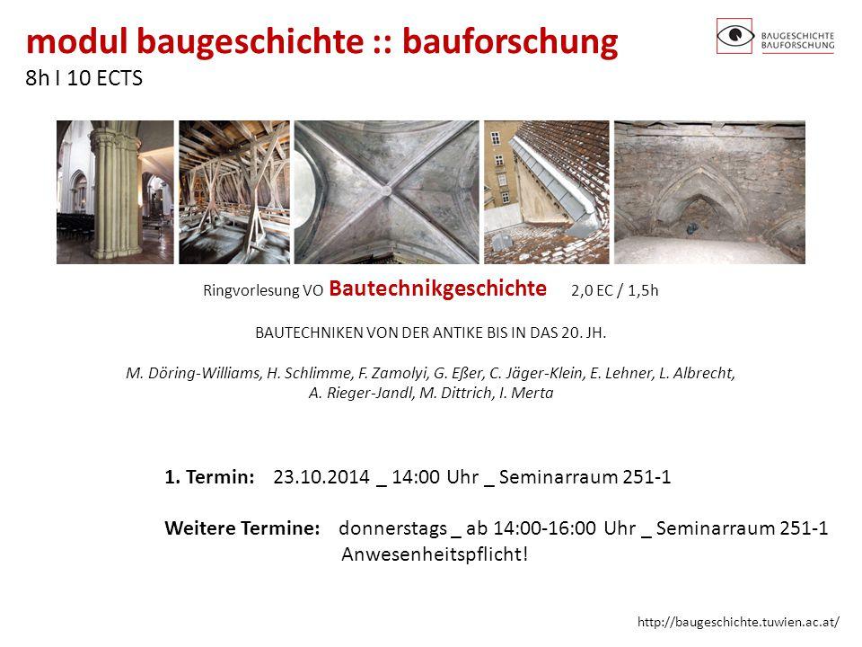 1. Termin: 23.10.2014 _ 14:00 Uhr _ Seminarraum 251-1
