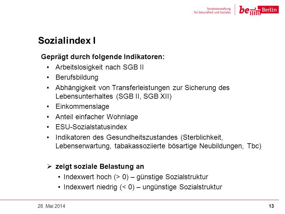 Sozialindex I Geprägt durch folgende Indikatoren: