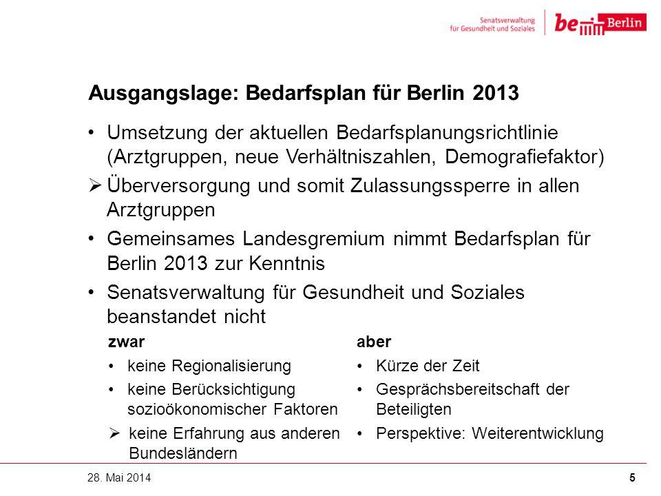 Ausgangslage: Bedarfsplan für Berlin 2013