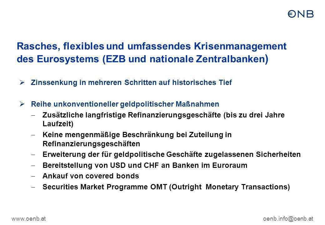 Rasches, flexibles und umfassendes Krisenmanagement des Eurosystems (EZB und nationale Zentralbanken)