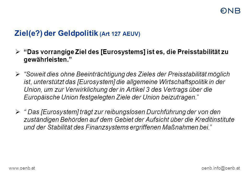 Ziel(e ) der Geldpolitik (Art 127 AEUV)