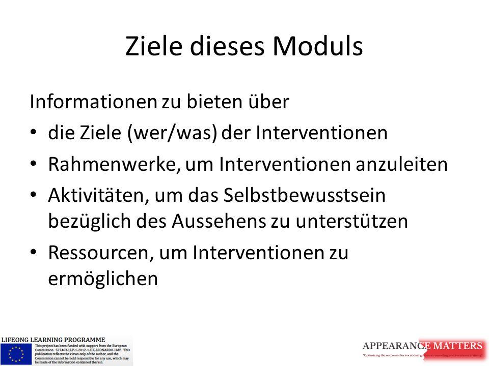 Ziele dieses Moduls Informationen zu bieten über