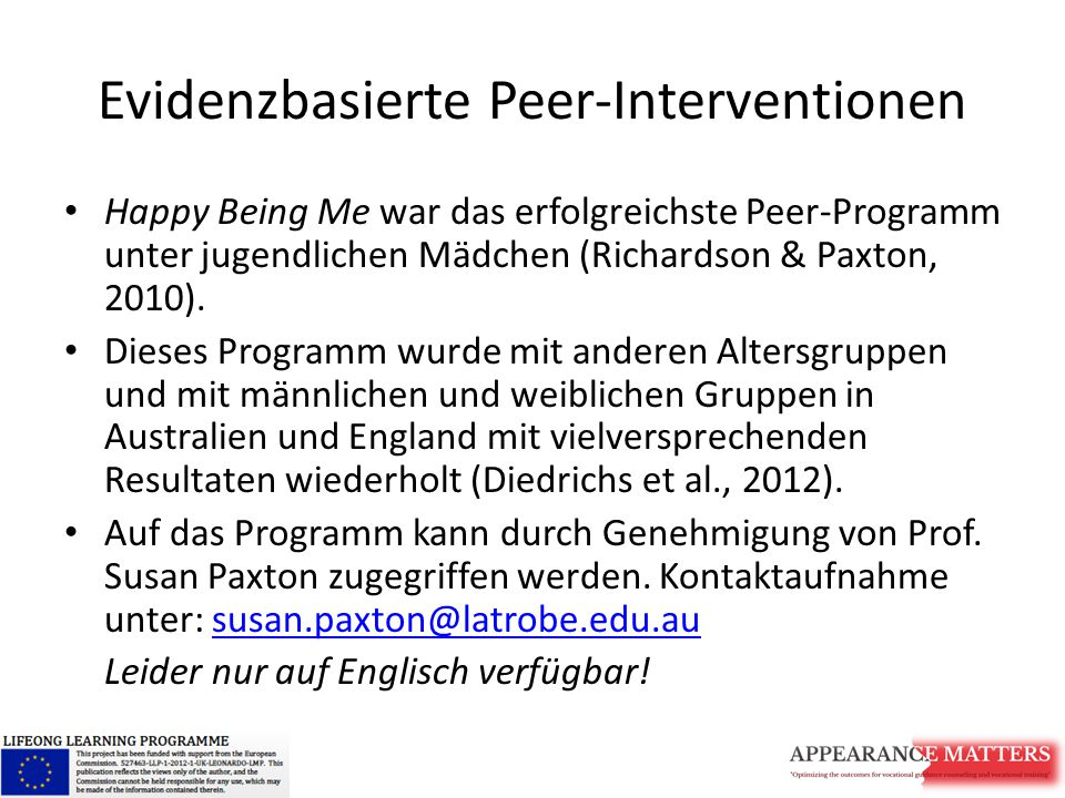 Evidenzbasierte Peer-Interventionen