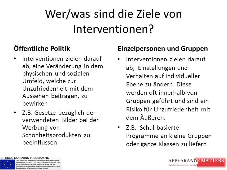 Wer/was sind die Ziele von Interventionen