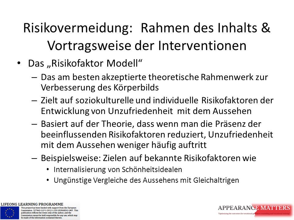 Risikovermeidung: Rahmen des Inhalts & Vortragsweise der Interventionen