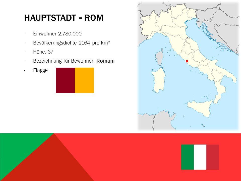 Hauptstadt - Rom Einwohner 2.780.000 Bevölkerungsdichte 2164 pro km²