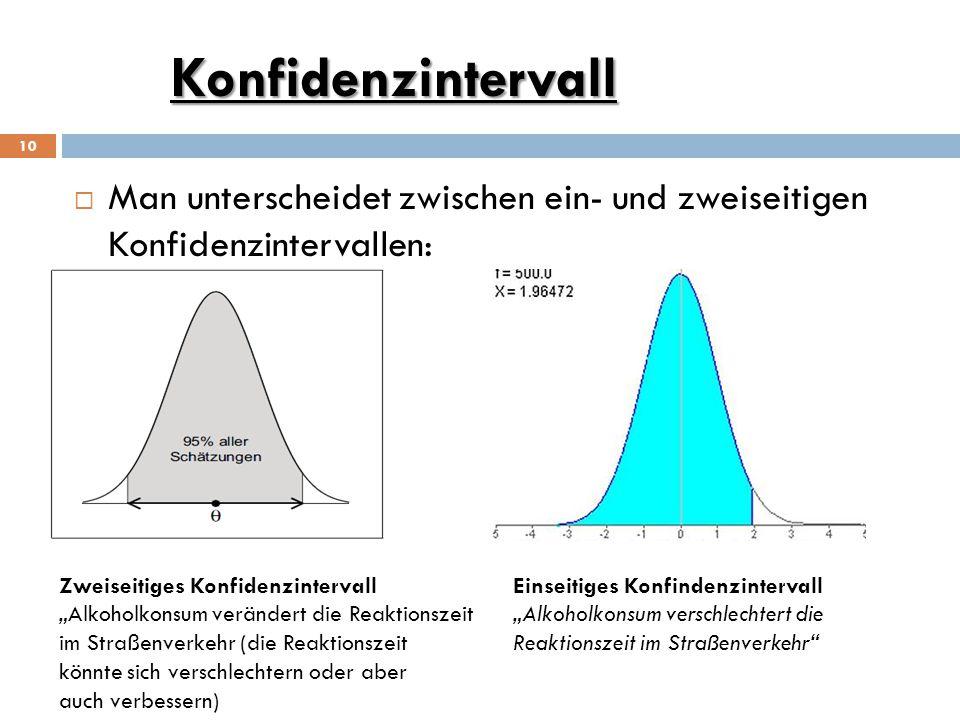 Konfidenzintervall Man unterscheidet zwischen ein- und zweiseitigen Konfidenzintervallen: Zweiseitiges Konfidenzintervall.