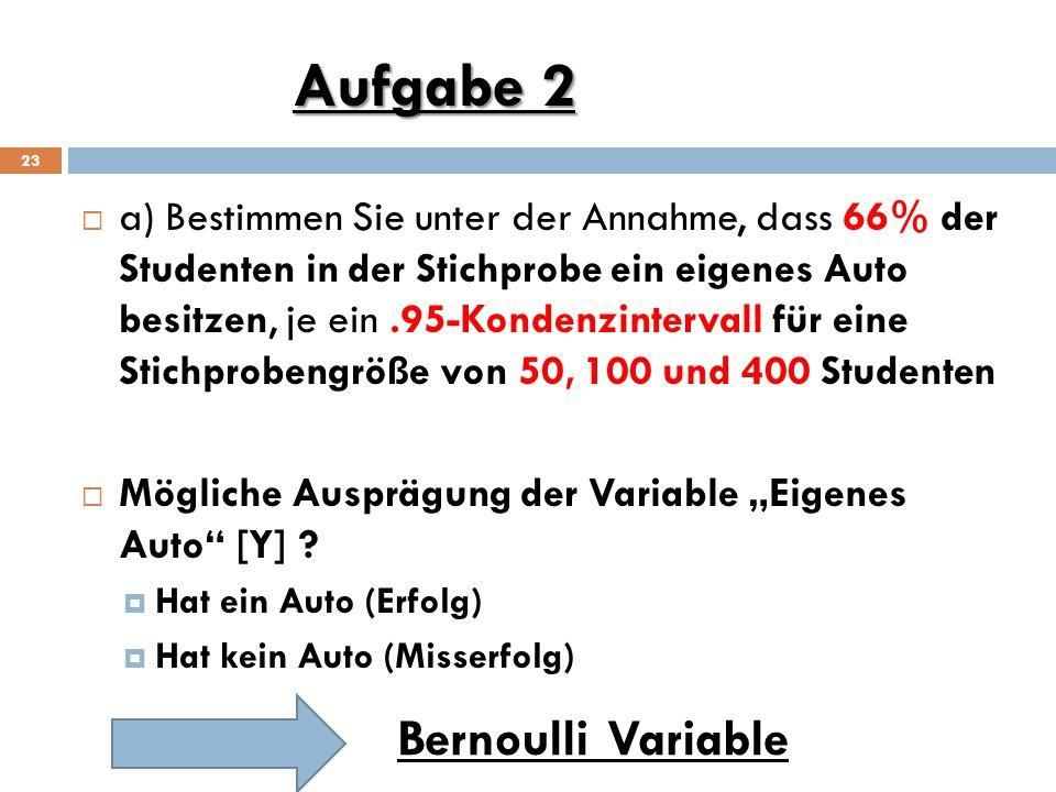Aufgabe 2 Bernoulli Variable