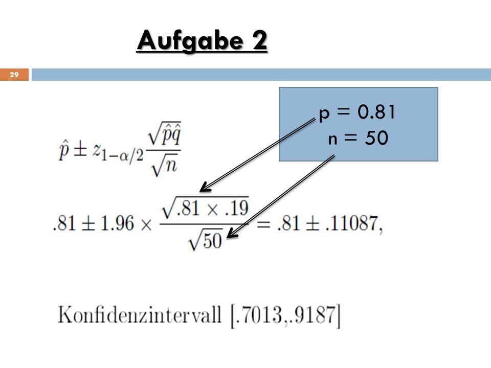 Aufgabe 2 p = 0.81 n = 50