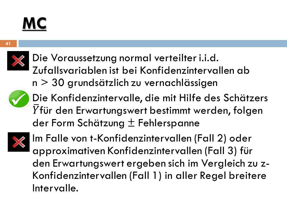 MC Die Voraussetzung normal verteilter i.i.d. Zufallsvariablen ist bei Konfidenzintervallen ab n > 30 grundsätzlich zu vernachlässigen.