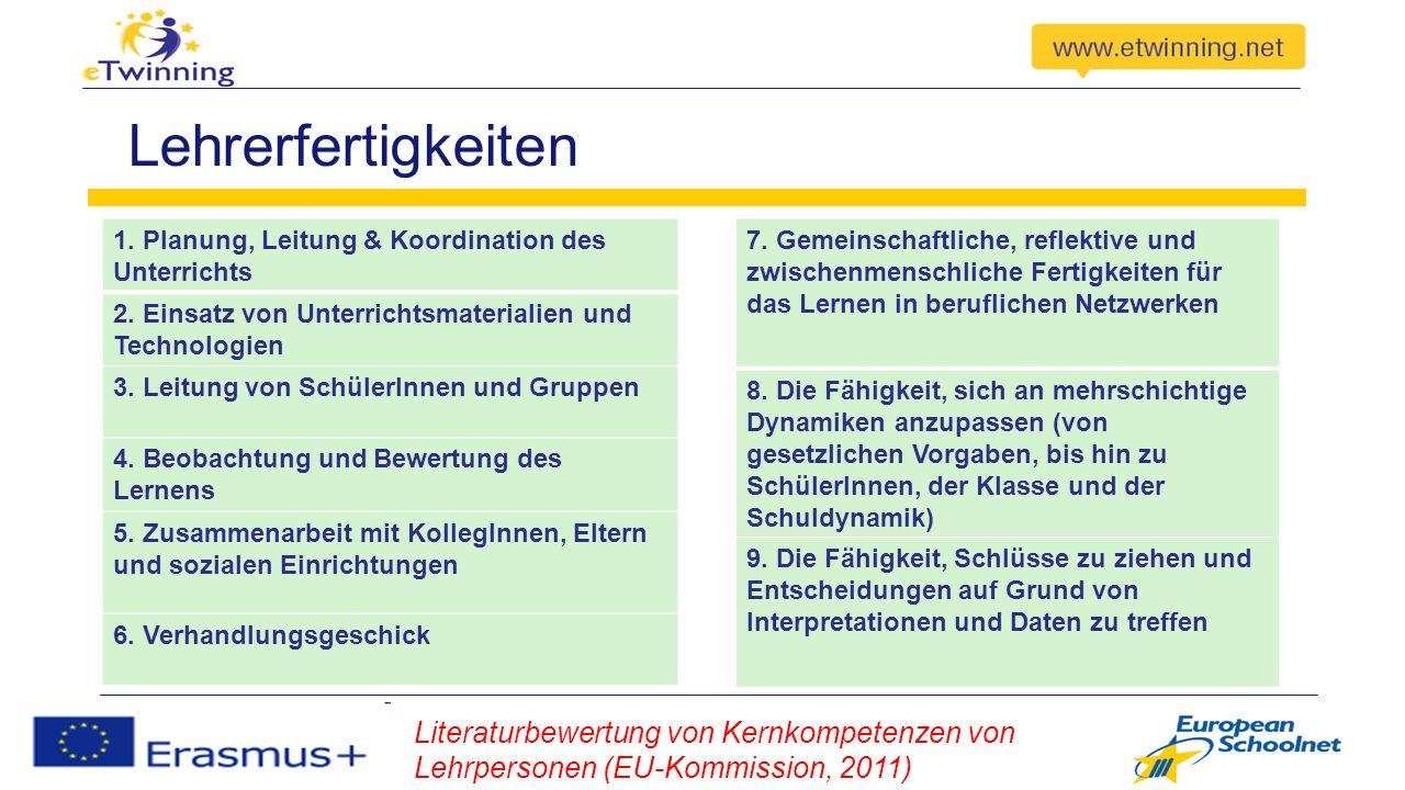 Lehrerfertigkeiten 1. Planung, Leitung & Koordination des Unterrichts. 2. Einsatz von Unterrichtsmaterialien und Technologien.