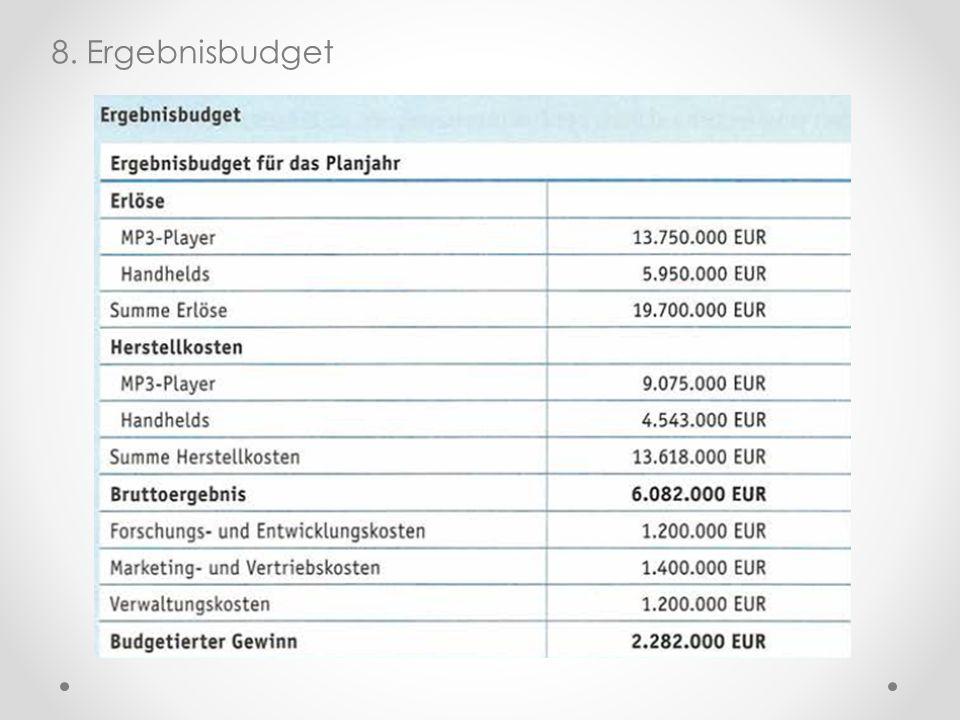 8. Ergebnisbudget