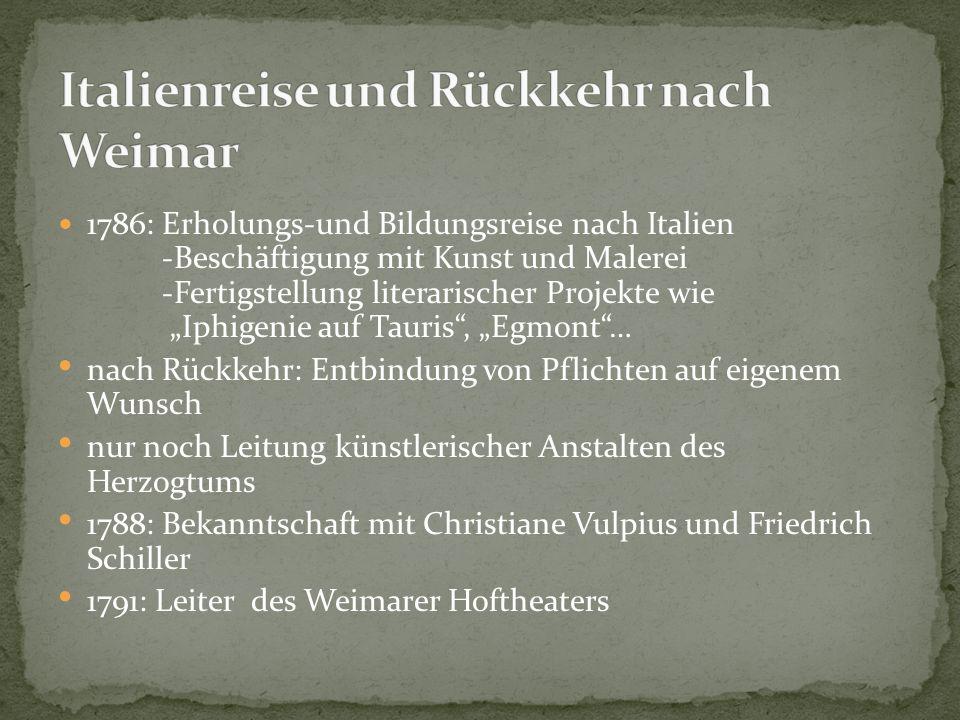 Italienreise und Rückkehr nach Weimar