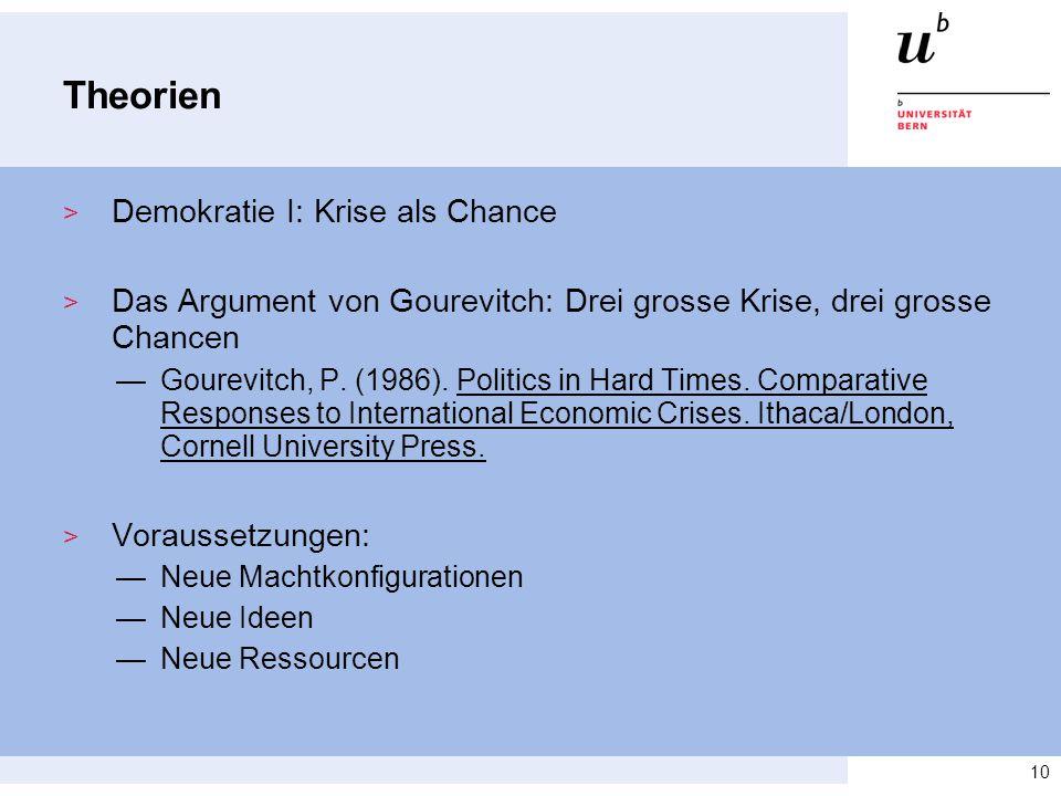 Theorien Demokratie I: Krise als Chance