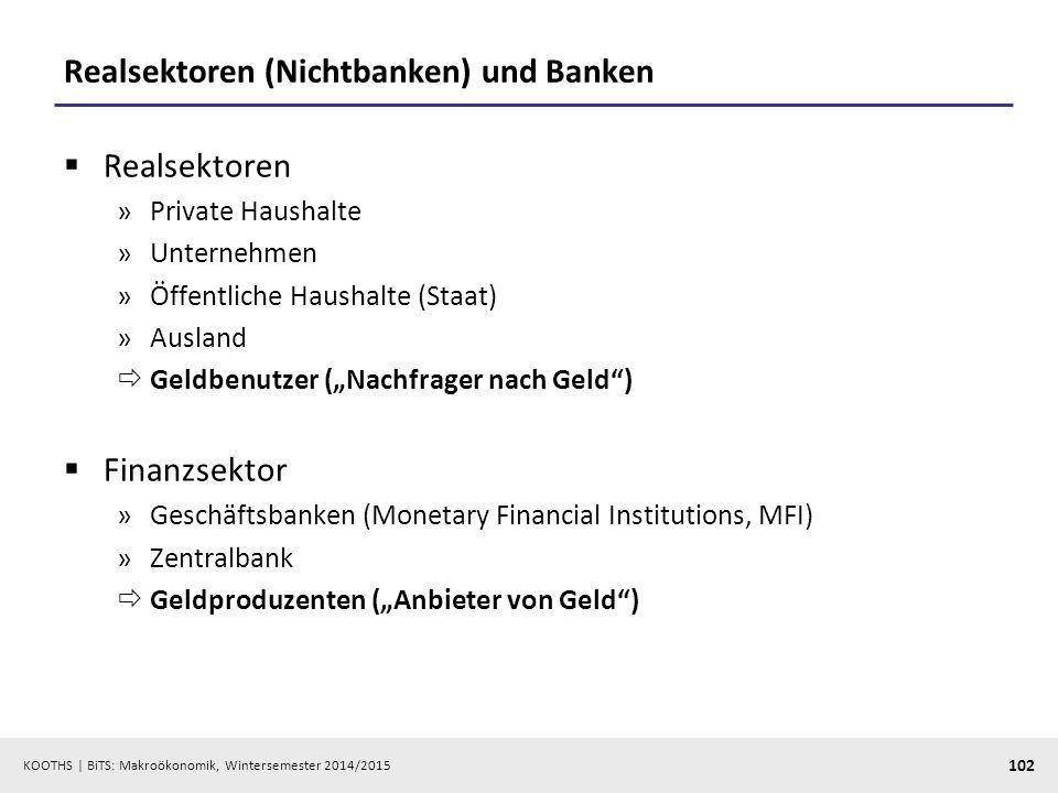 Realsektoren (Nichtbanken) und Banken