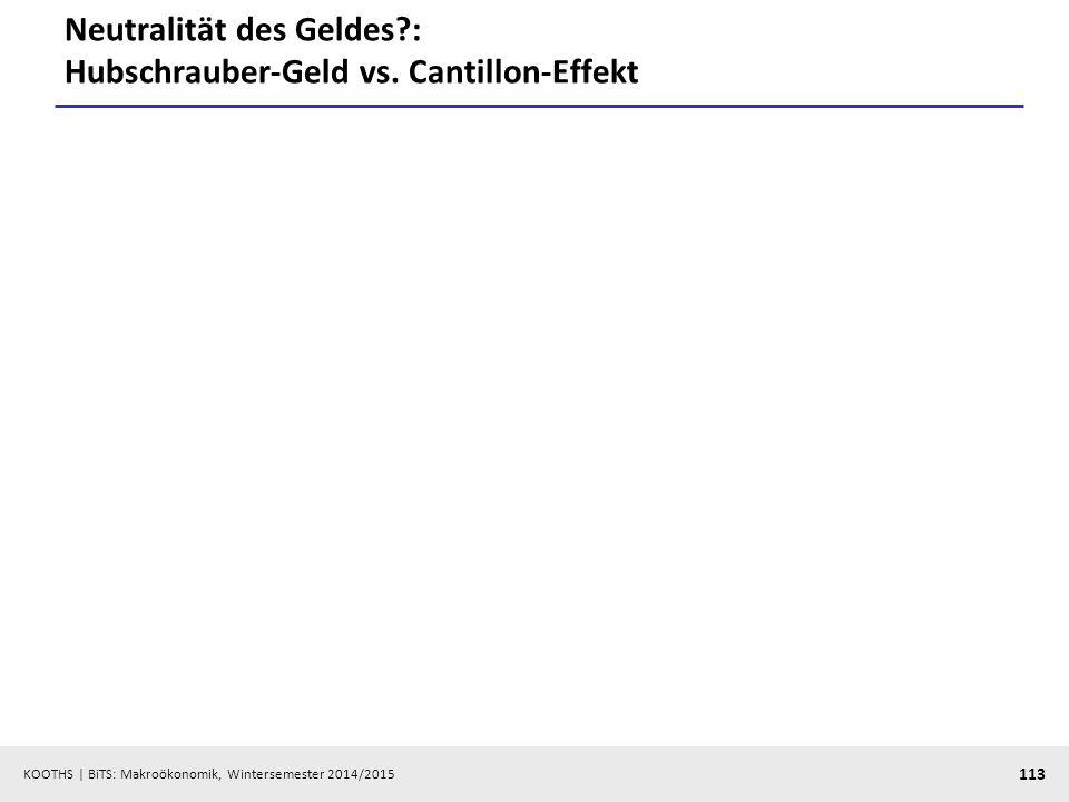 Neutralität des Geldes : Hubschrauber-Geld vs. Cantillon-Effekt