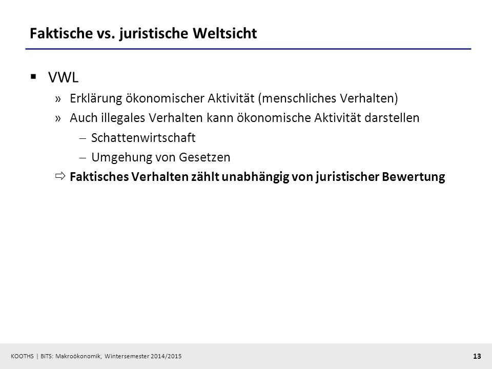 Faktische vs. juristische Weltsicht