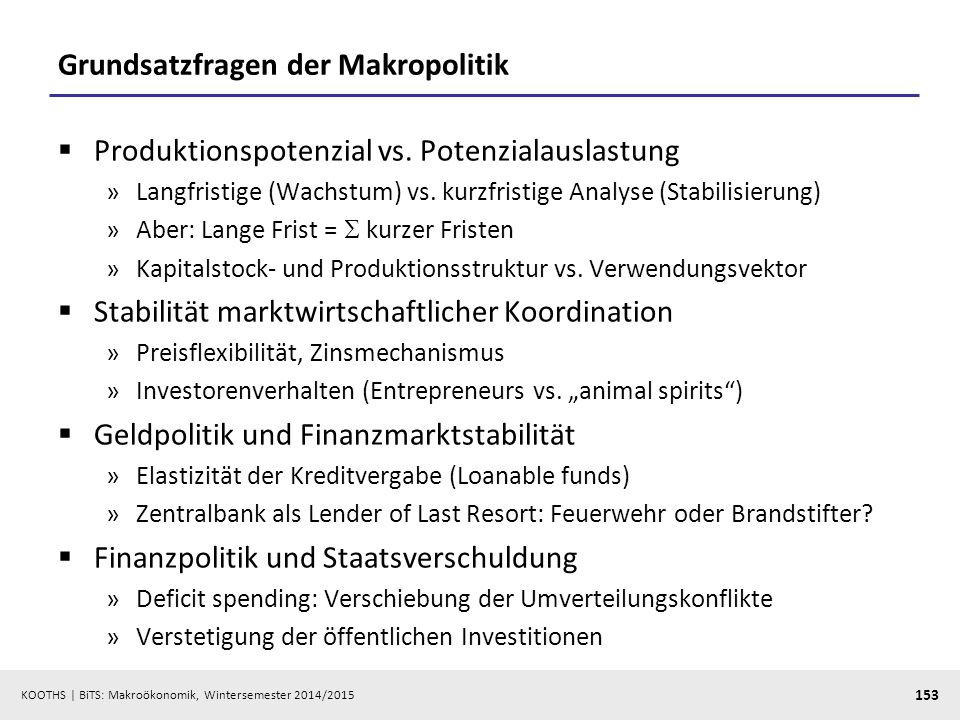 Grundsatzfragen der Makropolitik