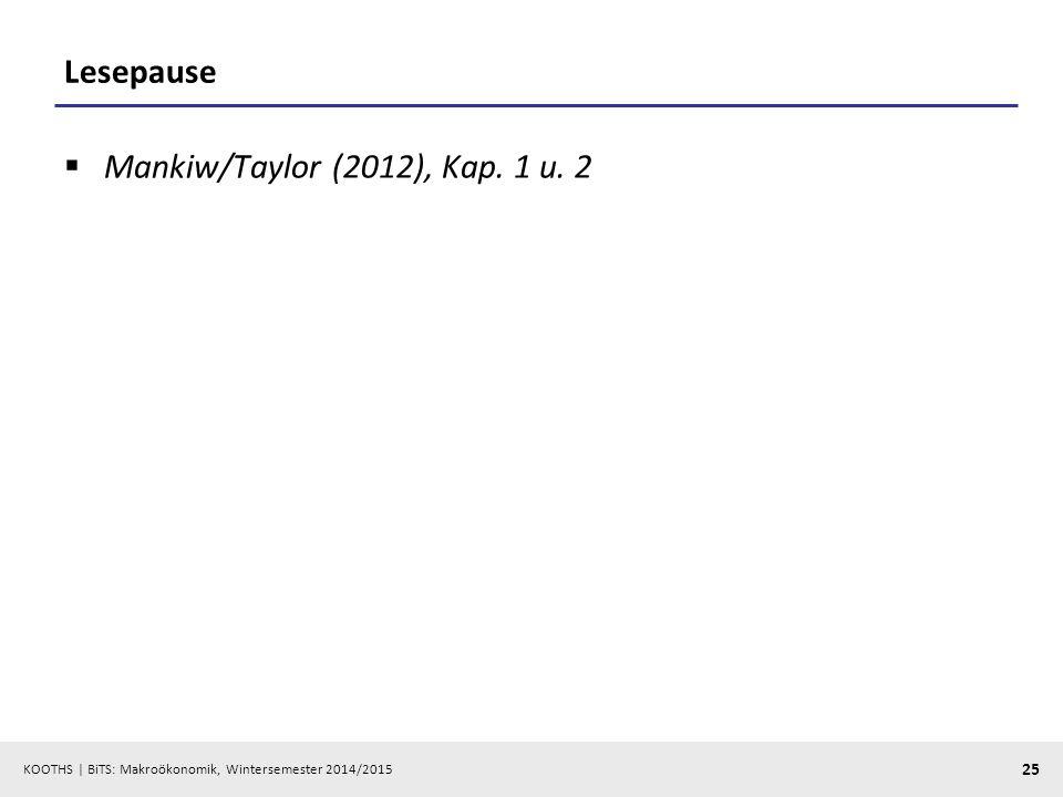 Lesepause Mankiw/Taylor (2012), Kap. 1 u. 2