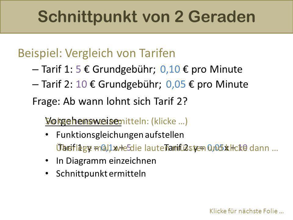Beispiel: Vergleich von Tarifen