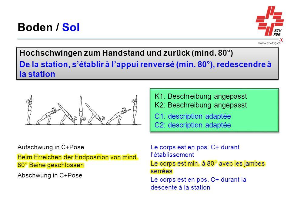 Boden / Sol Hochschwingen zum Handstand und zurück (mind. 80°)