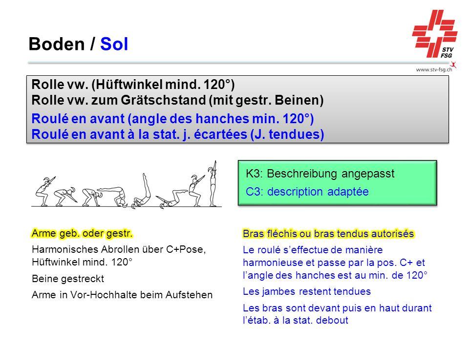 Boden / Sol Rolle vw. (Hüftwinkel mind. 120°) Rolle vw. zum Grätschstand (mit gestr. Beinen)