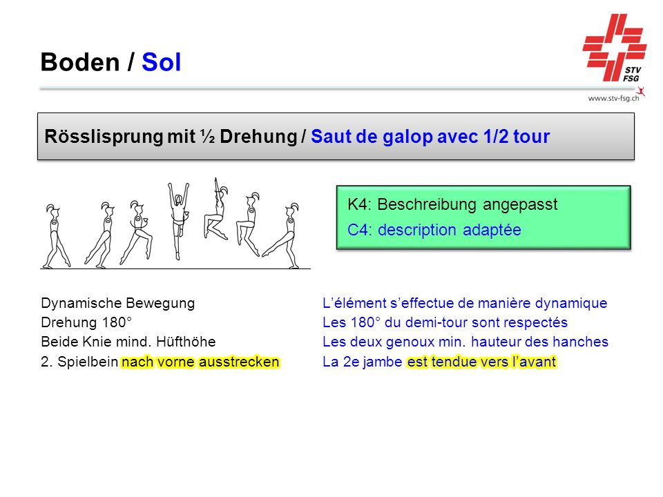 Boden / Sol Rösslisprung mit ½ Drehung / Saut de galop avec 1/2 tour