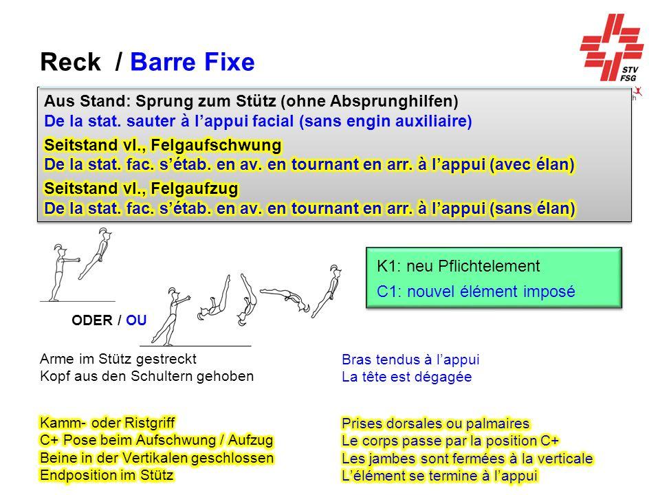 Reck / Barre Fixe Aus Stand: Sprung zum Stütz (ohne Absprunghilfen) De la stat. sauter à l'appui facial (sans engin auxiliaire)