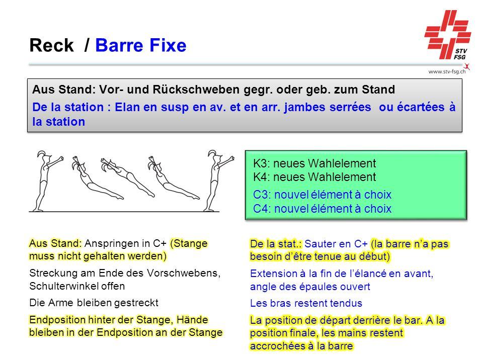 Reck / Barre Fixe Aus Stand: Vor- und Rückschweben gegr. oder geb. zum Stand.