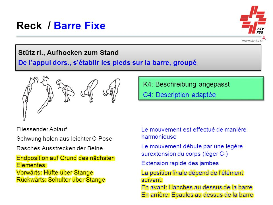 Reck / Barre Fixe Stütz rl., Aufhocken zum Stand