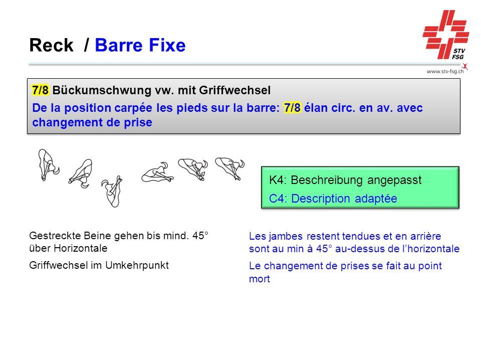Reck / Barre Fixe 7/8 Bückumschwung vw. mit Griffwechsel