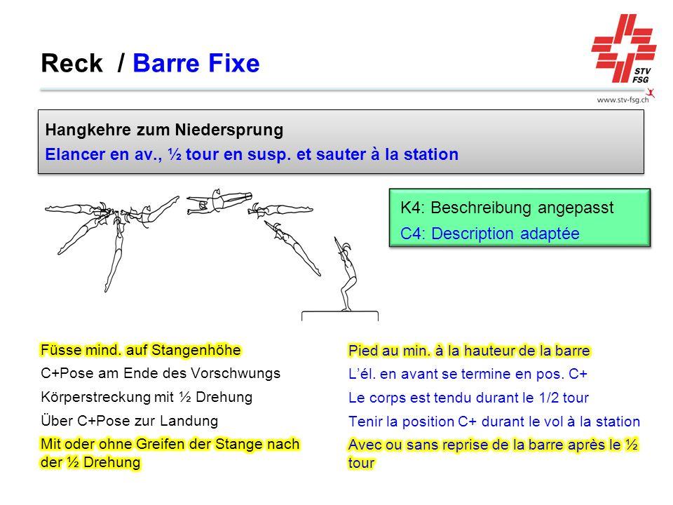 Reck / Barre Fixe Hangkehre zum Niedersprung
