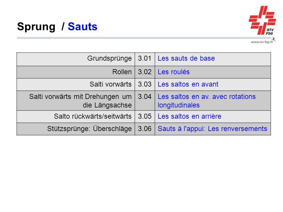Sprung / Sauts Grundsprünge 3.01 Les sauts de base Rollen 3.02