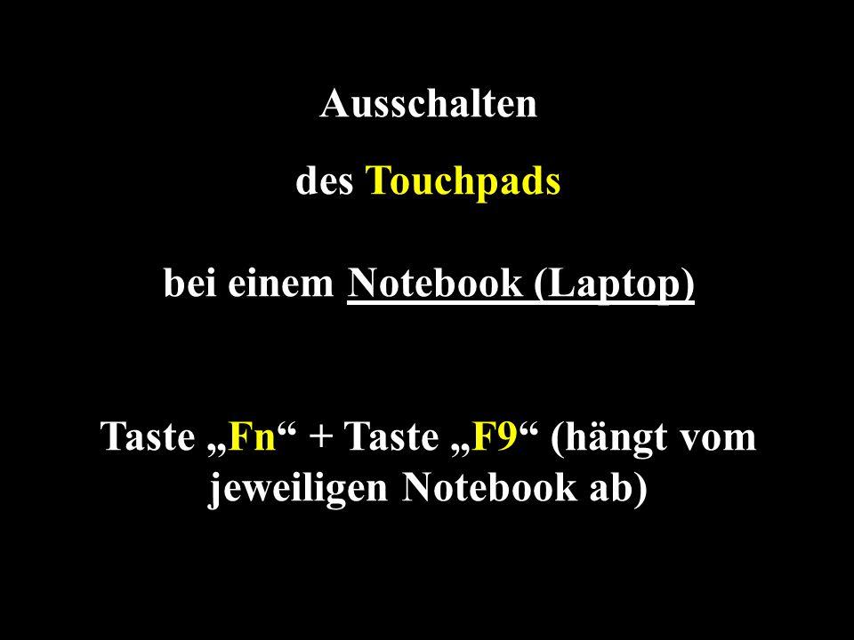 des Touchpads bei einem Notebook (Laptop)