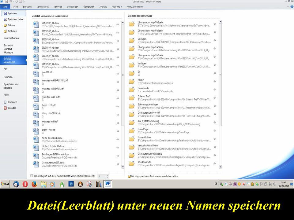 Datei(Leerblatt) unter neuen Namen speichern