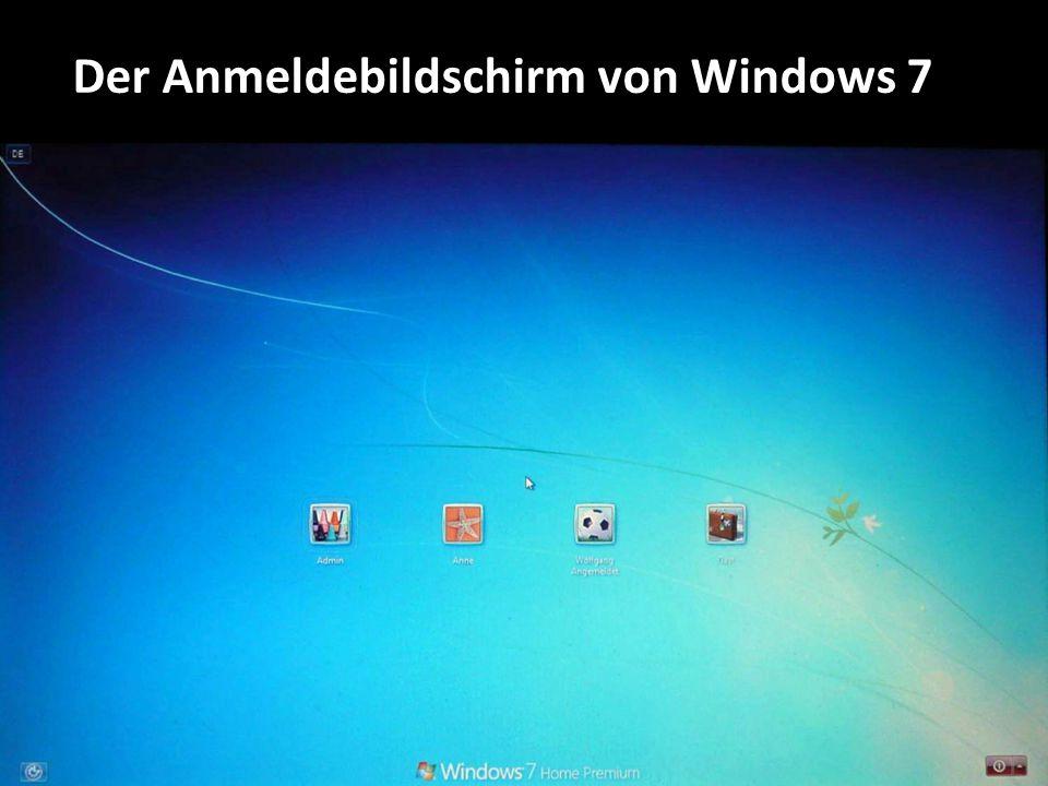 Der Anmeldebildschirm von Windows 7
