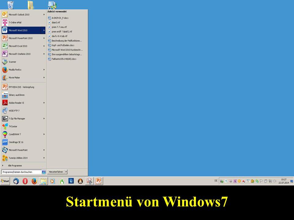Startmenü von Windows7