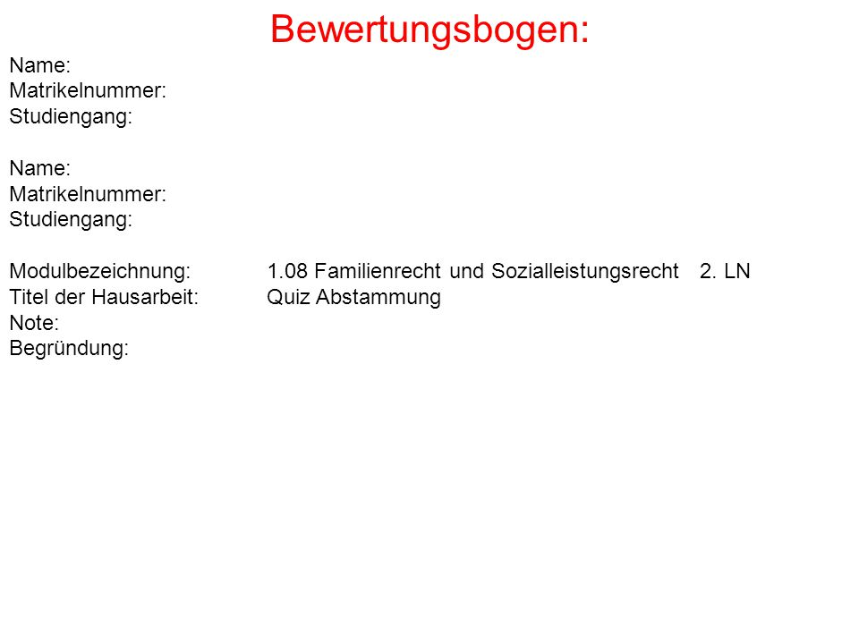 Bewertungsbogen: Name: Matrikelnummer: Studiengang: