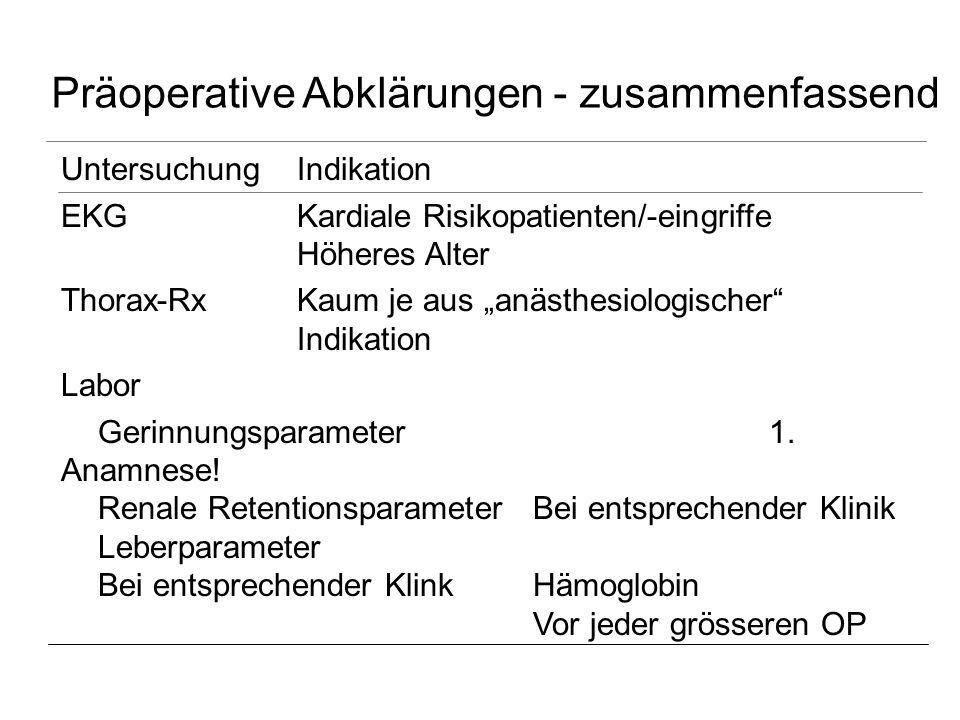 Präoperative Abklärungen - zusammenfassend