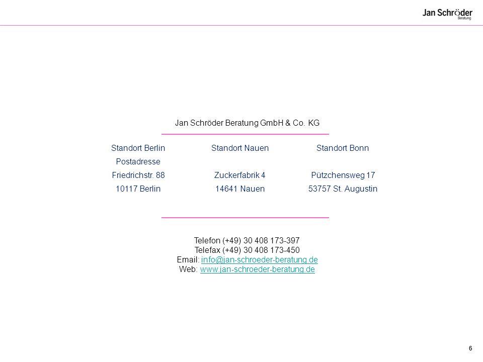 Jan Schröder Beratung GmbH & Co. KG Standort Berlin Postadresse
