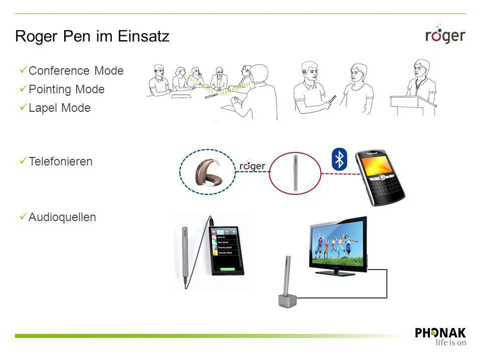 Roger Pen im Einsatz Conference Mode Pointing Mode Lapel Mode