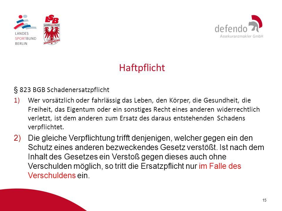 Haftpflicht § 823 BGB Schadenersatzpflicht.