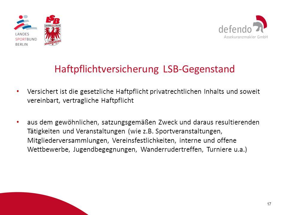 Haftpflichtversicherung LSB-Gegenstand