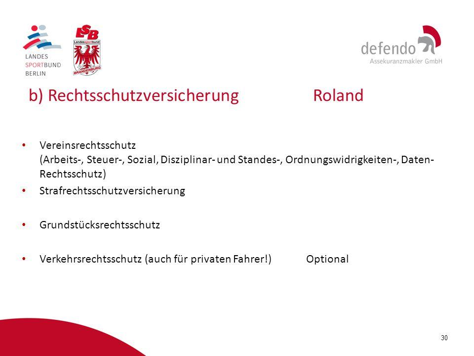 b) Rechtsschutzversicherung Roland