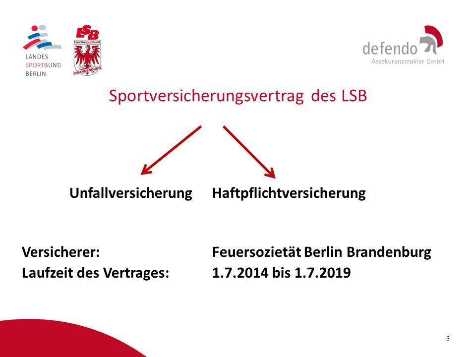 Sportversicherungsvertrag des LSB
